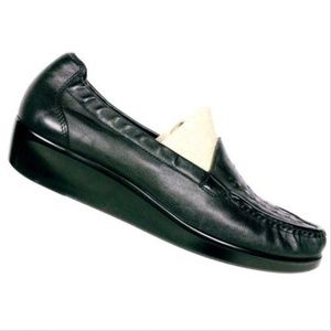 SAS Women's Black Leather Weave Loafers Size 12 S